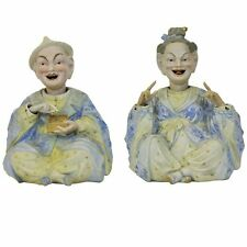 ANTIQUE Porcelain Egg Faberg\u00e9 SCULPTURE Figure Figurine On Wooden Base Mid Century Desk Decor Handmade Ceramic 30s 40s 50s Home Decor mcm