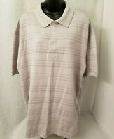 George Mens Gray White Striped Polo Shirt Size XL 46 48