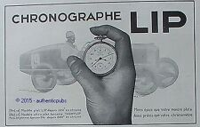 PUBLICITE MONTRE LIP CHRONOGRAPHE TACHYLIP COURSE AUTOMOBILE DE 1931 FRENCH AD