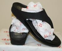 Fitflop Women size 8 Slip On Thong Sandals Super Comff Black Comfy Ladies (S3)