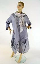 Wadenlange Damenkleider mit Rundhals-Ausschnitt aus Baumwollmischung ohne Muster