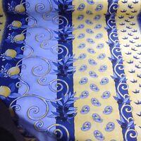 nappe tissu enduit au mètre provençal 140 de large fin de stock bleu et jaune