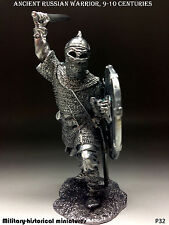 Russian warrior, Tin toy soldier 54 mm, figurine, metal sculpture