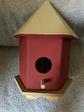 Bird House - Wood - Pre-Painted - Cranberry/Gray Colors