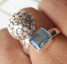 925 Sterling Silver- Bali Hand Made Ring Armadillo & Blue Topaz Size 9
