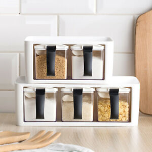 2/3Pcs Stackable Seasoning Bottle Box Set Jar Condiment Storage Container Rack