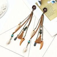 Vintage Women Boho Bohemian Earrings Long Tassel Fringe Dangle Earrings Fashion