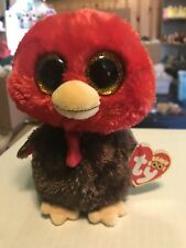 """6953521c046 Ty FEATHERS -Red Brown Orange Thanksgiving Turkey 6"""" Exclusive Beanie Boo!"""