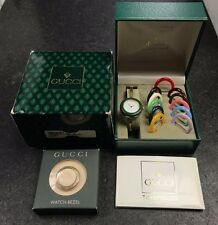 Vintage Gucci Ladies Bangle Watch 12 Bezels Extra Diamond Bezel Original Boxes