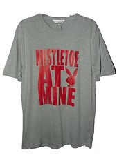 FAB NEW MENS PLAYBOY CHRISTMAS T-SHIRT MISTLETOE AT MINE SIZE MED NWT GREY / RED