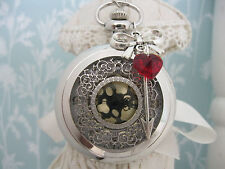 "New Large "" SHOT THROUGH THE HEART"" Silver Steampunk Pocket Watch Necklace Gift"