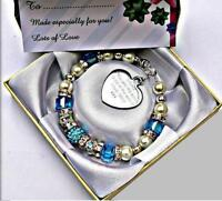 Personalised Engraved Sister Cube Bead Bracelet With Free Box and Gift Card