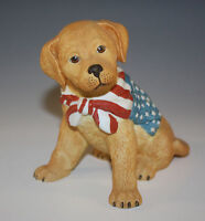 NEW LENOX PATRIOTIC GOLDEN RETRIEVER PUPPY SCULPTURE AMERICAN FLAG