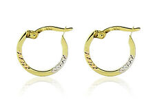 Cute 10K Yellow Gold Round Hoop Earrings with Tri-Color Gold Diamond Cut Accents
