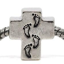 Cross European Bead w Footprints For Charm Bracelets - Walking The Path Of God