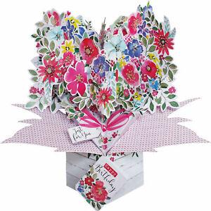 """Geburtstag Pop-Up 3D-Grußkarte Blumen Aufschrift """"Happy Birthday"""" Gr.17x23cm"""