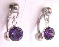Surgical Steel VCH Hood Round Purple Crystal Jewelry Curved Barbell 14 gauge 14g
