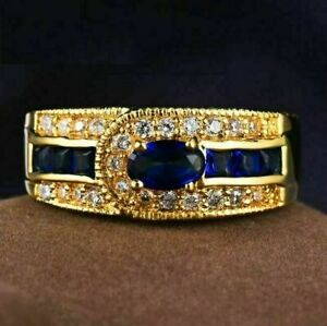 2 Ct Oval Cut Blue Sapphire Women's Engagement Ring 14K Yellow Gold Fn For Gift