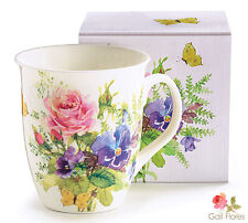 Gift boxed ABUNDANT BLOOMS porcelain coffee MUG tea CUP -Great gift for MOM!