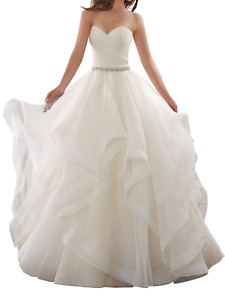 Simple style standard size crystal belt bridal wedding dress US4--16W