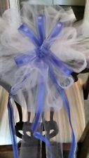 Sale $30 12pc Wedding Ivory And Royal Blu Tulle Pew Bows OR ANY COLOR  RUSH AVAI