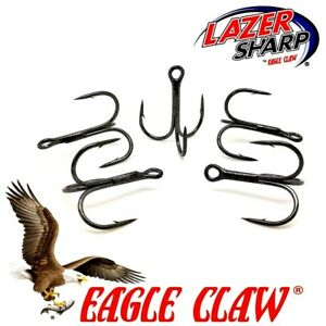 Treble Hooks Eagle Claw 934 BZ , 3X  Sizes  6- 2/0 Flying Cs .Pike Lures Trace.