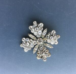 broche ancienne argent strass , antique silver rhinestone brooch