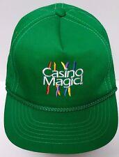 Vintage 1990s GREEN CASINO MAGIC BAY ST. LOUIS MISSOURI ADVERTISING SNAPBACK HAT