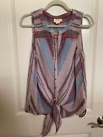 Anthropologie Maeve LavenderMulti Stripe Tie Front Sleeveless Blouse Top Size 8