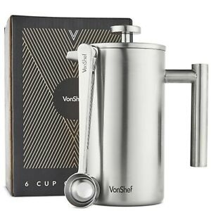 VonShef Cafetiere Coffee Maker French Press Plunger Stainless Steel 800ml 6 Cup