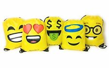Emoji Bag for Kids Boys and Girls, Halloween Drawstring Backpack, Set of 5 Bags