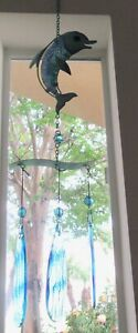 Wind Chime- DOLPHIN  blue purple colors -metal glass -seashell- glass chimes