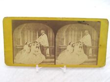 Vintage Stereoview Stereoscope Card Confirmation 4 Women Kneeling At Church