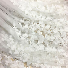 3D White Butterfly Bilateral Embroidery Guipure Lace Fabric For Wedding Dress