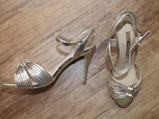 M&S GOLD STRAPPY EVENING SHOES SIZE 7.5 EUR 41 LADIES BNWT RP £35 INSOLIA