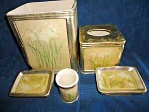 CROSCILL ORCHIDS AND NARCISSUS GREEN (5PC) SET TUMBLER TRASH TOOTHBRUSH SOAP CUP