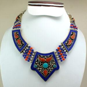 Necklace natural tibetan lapis lazuli coral turquoise gemstone handmade jewelry