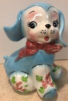Vintage Blue Puppy Dog Floppy Ear Bank Napco 1956 So very cute! Japan