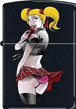 RARE Sexy Lady Naughty Seductive Lollipop Girl Black Matte CM2667 Zippo Lighter