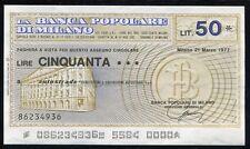 BANCA POPOLARE MILANO 21/3/1977 AUTOSTRADE SPA L.50/PAPER MONEY FDS/UNC