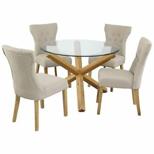 """Solid Oak And Glass Dining Table 42"""" - Round Circle Table - Free Delivery"""