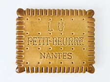 Gorgeous Lu Petit-Beurre Nantes Pottery Tea Biscuit Footed Hot Plate, France