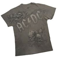 Vintage AC/DC Classic Rock Band Tour Tee Shirt Grey Faded Stained Small Y2k 2010