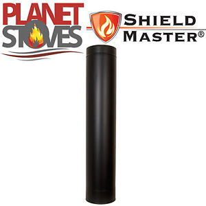 Black Shieldmaster Twin Wall Insulated Flue Stove Pipe Multifuel Wood Burning