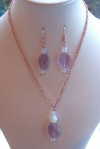 Amethyst, February & Pisces Birthstone, & Opalite Necklace and Earring Set