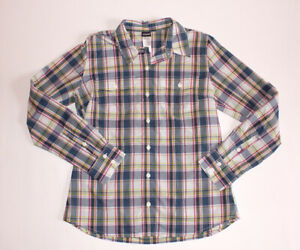 Women's 6 Patagonia multicolor plaid long sleeve button up nylon outdoors shirt