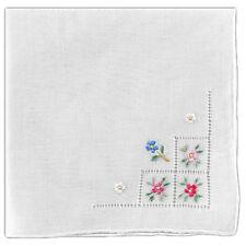 2 pc Women's Handkerchief White Fine Cotton Floral Madeira Embroidery Hemstitch