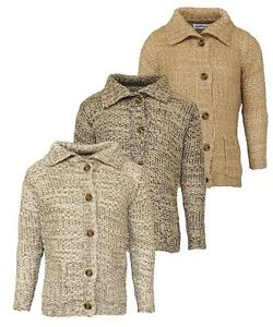 Boys Girls Kids Knitted Warm Winter Cardigan Collar Thick Age 3 4 5 6 7 8 9 10