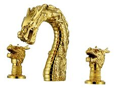 "Luxury Gold 3 Holes 8"" widespread washbasin  dragon lav basin sink Faucet tap"