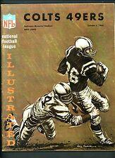 1965 Baltimore Colts vs San Francisco 49ers Program October 3 Memorial Stadium